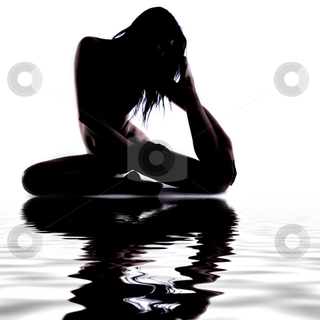 Silhouette of a gymnast in the water stock photo, Silhouette of a gymnast at a pool unrecognizable  , no MR needed by Frenk and Danielle Kaufmann