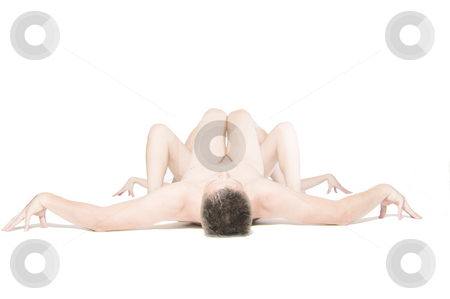 Human Spider Shape stock photo, Two naked people building the shape of a spider by Frenk and Danielle Kaufmann