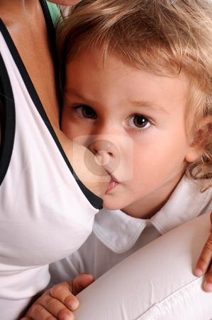 Breast Feeding stock photo, Little Curly-headed Boy Breast Feeding by Valeriy Mazur