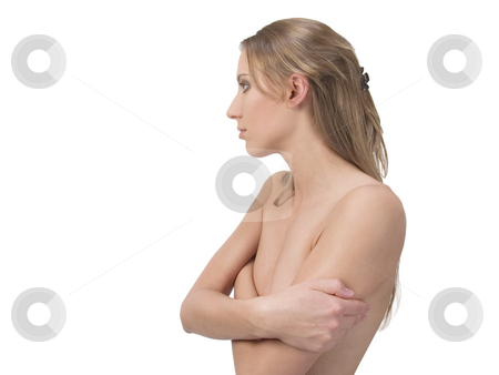 Topless Profile Portrait Young Woman stock photo, Young Woman Show-Nothing Topless Portrait by Jeff Cleveland