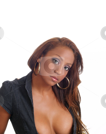 Woman with cleavage stock photo, Young mixed black woman portrait with cleavage by Jeff Cleveland