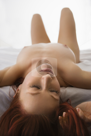 stock photo pretty adult naked girl lying