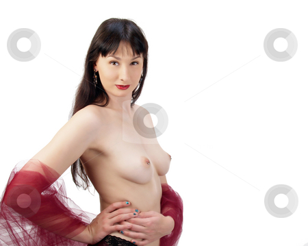 Woman bare top with red wrap pierced nipples stock photo, Woman with pierced nipples bare top with red wrap by Jeff Cleveland