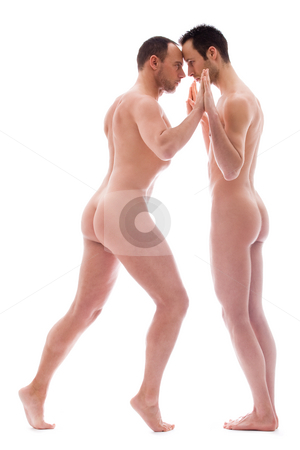 Learn the dance stock photo, Artistic nude forms with 2 powerfull men by Frenk and Danielle Kaufmann