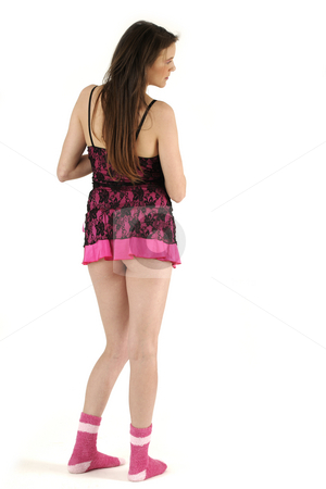 Woman figure stock photo, Young girl in pink lingerie isolated on white background by Tom P.