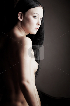 Naked young woman stock photo, Young adult Caucasian woman with black hair ...