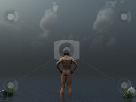Dark clouds stock photo, Naked man stands in water in front of dark cloudy sky - 3d illustration by J?