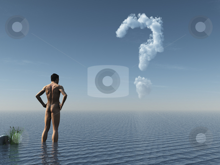 Quest stock photo, Naked man stands in water and look at cloudy question mark - 3d illustration by J?
